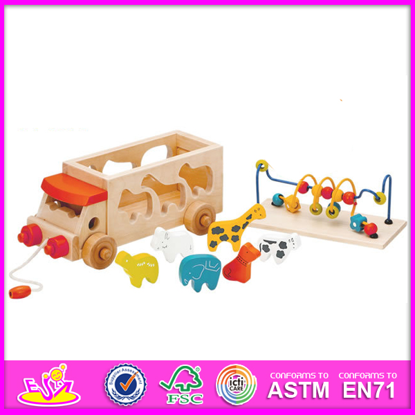 Educational Toy Pull and Push Toy for Kids, Wooden Toy DIY Toy for Children, String Bead Toy Wooden Block Toy for Baby W05b074