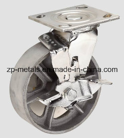 Heavy-Duty 4 Inch with Brake Casting Iron Caster Wheel