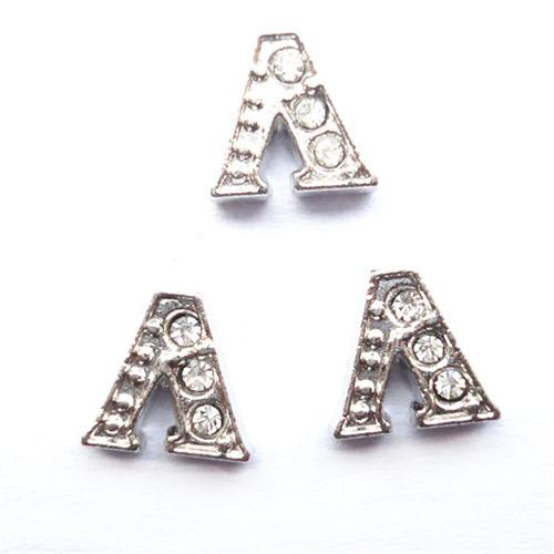 Initial Rhinestone Letter Slider Pendant Charms for Making Bracelet