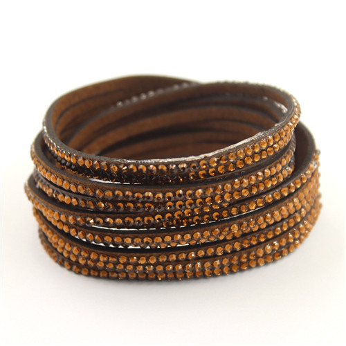 New Leather Crystal Multi Layer Winding Bracelet