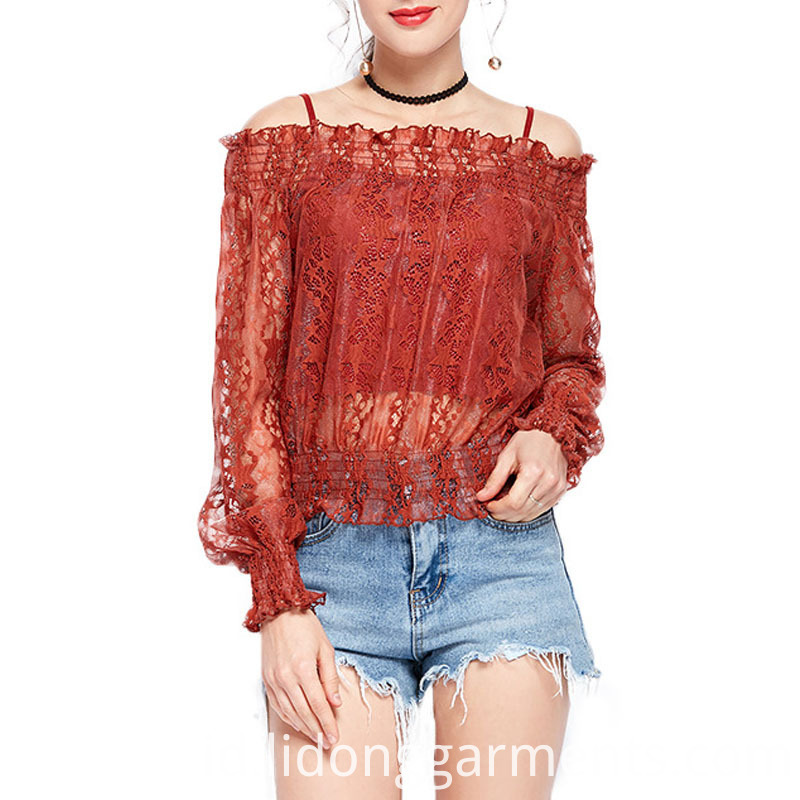 Custom Knitted Off Shoulder Lace Blouse