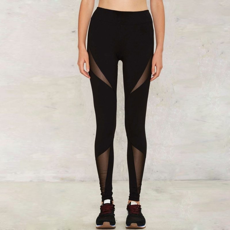 Black Mesh Fitness Sport Yoga Clothes Garment Pants Leggings (3032)