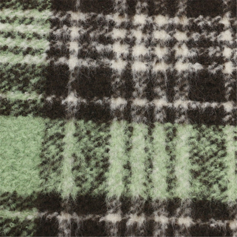 30% Wool 70%Polyester Fabric Woolen Women Checks Garment