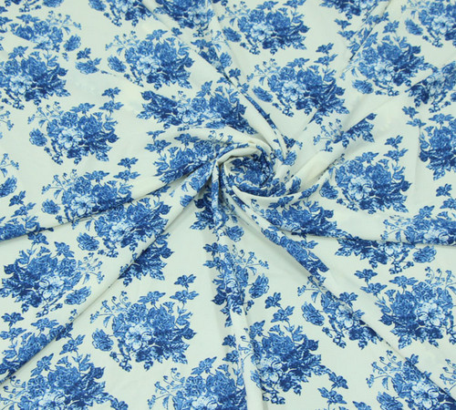 Blue and White Chiffon Fabric