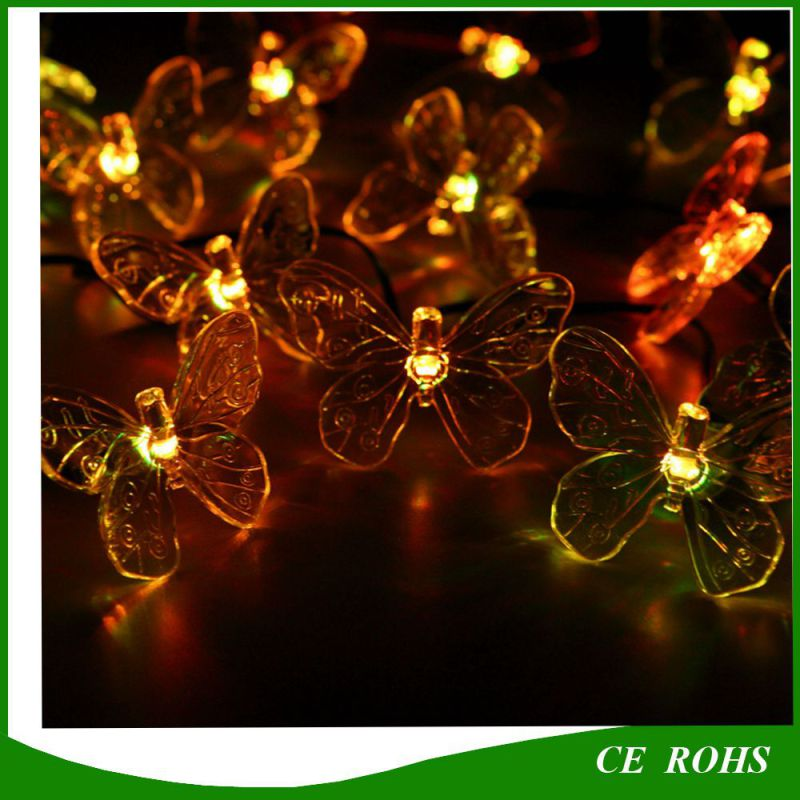 Solar Holiday LED Garlands String Lights 50 LED Colorful Butterfly Wedding Event Party Garden Decoration Lamps Luce Solare