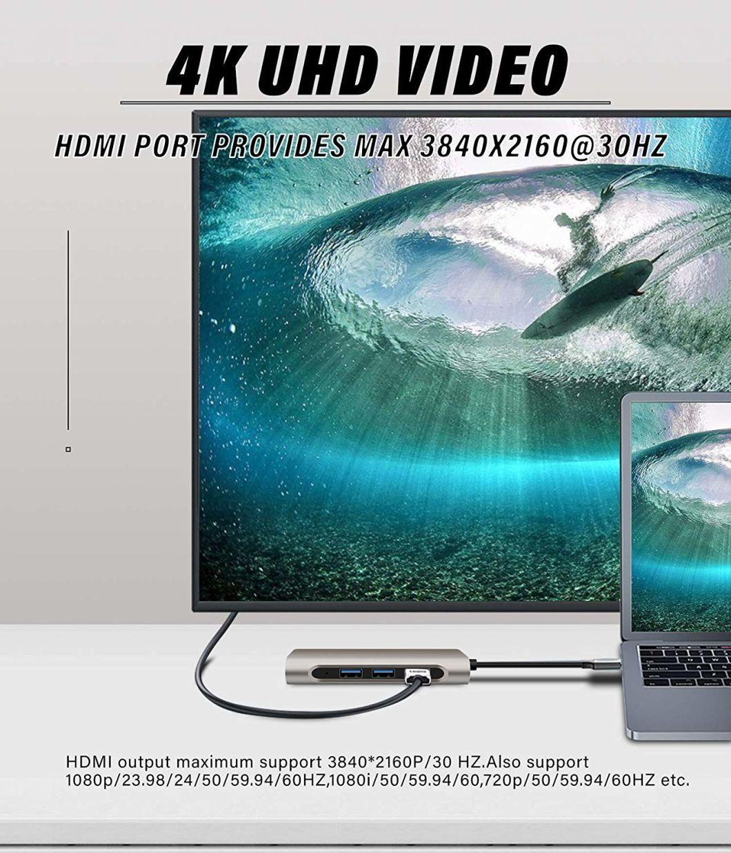 Novo design com várias portas tipo C USB-C Hub USB3.0 * 2 / RJ45 (1000 Mbps) / Pd 60W para carregamento