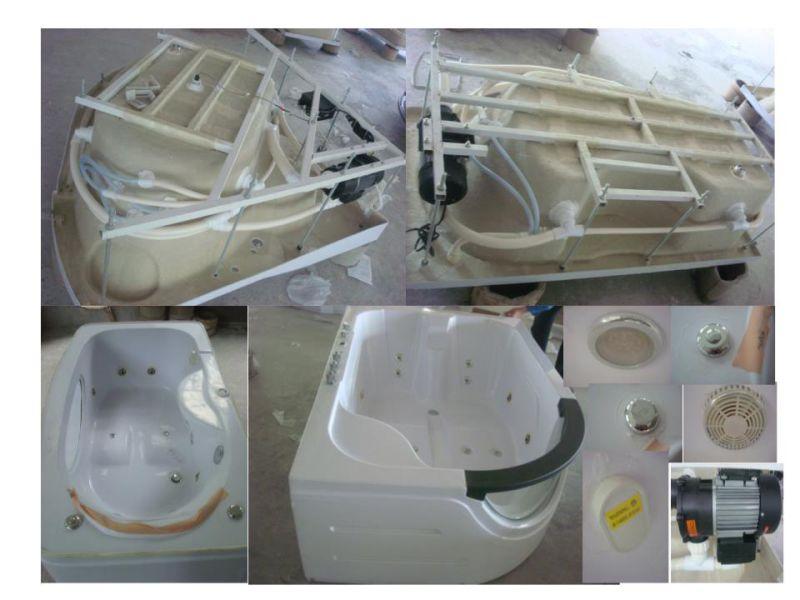 White Acrylic Sanitary Whirlpool Massage Bathtub (OL-673)
