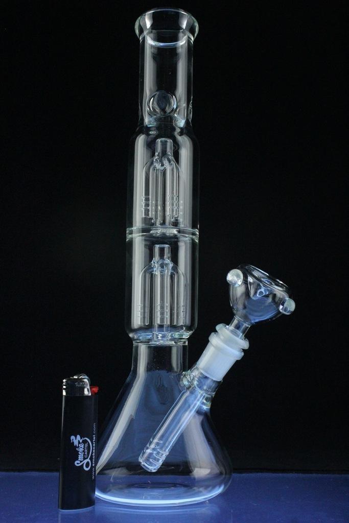 Double Tree Perc Beaker Hookah Glass Pipe for Smoking (ES-GB-393)
