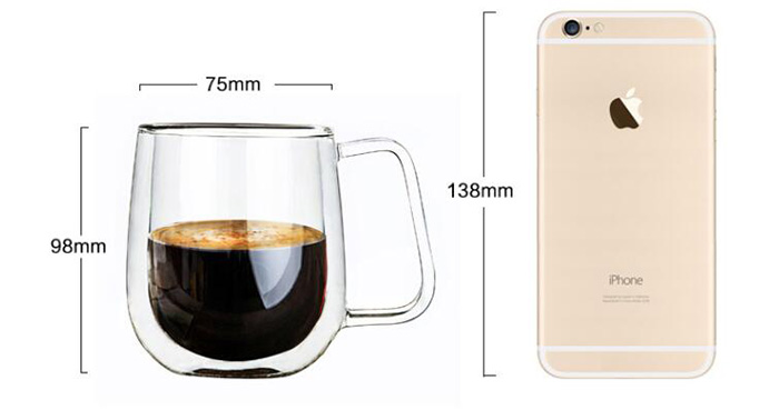 Transparent Heat Resistance Glass Coffee Mug Double Wall Milk Juice Cup