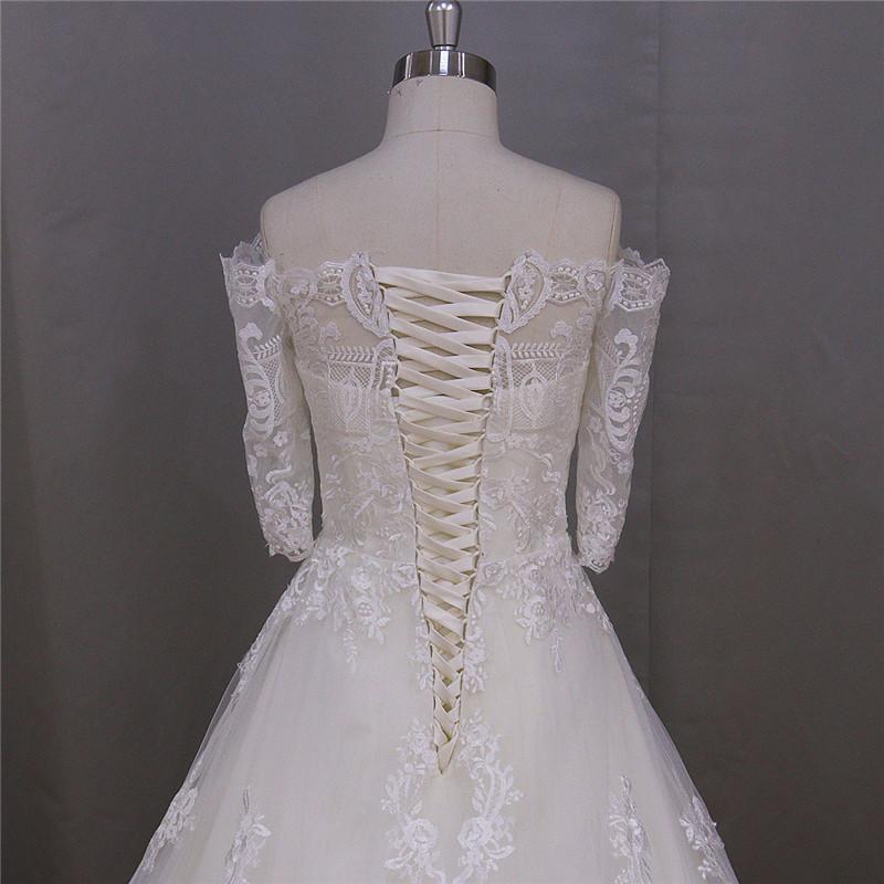 Lace up Back Long Train Wedding Dress