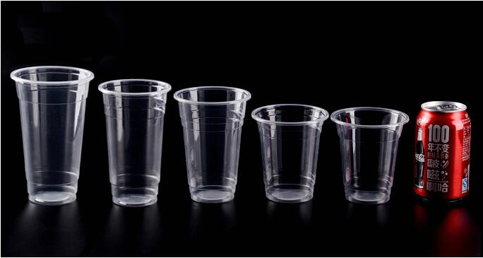 Plastic Cup with Flat Lids for Iced Coffee, Smoothies