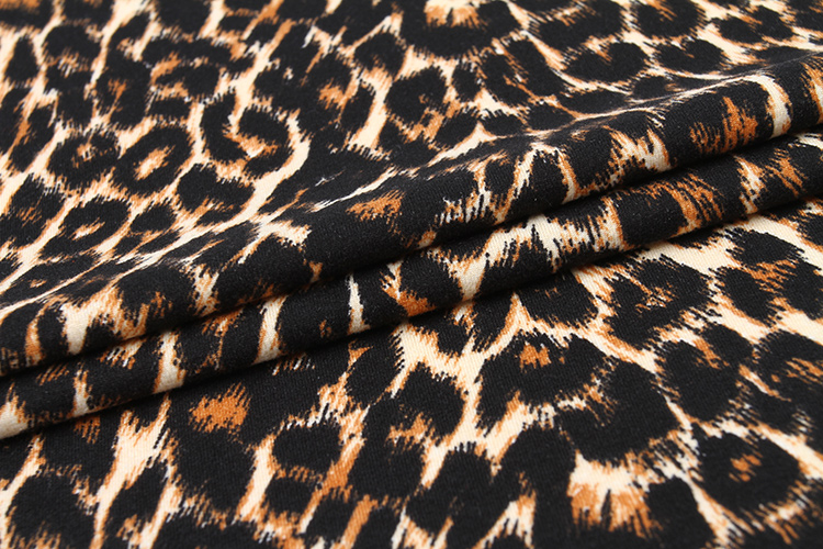 Leopard Knitted DTY Printed Fabric