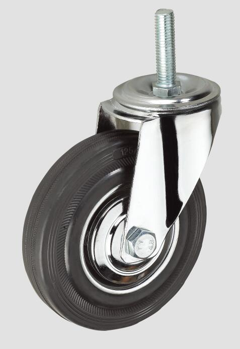 3inch Black Rubber Thread Industrial Caster Without Brake