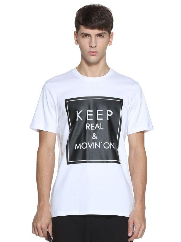 Cotton Printing Words Round Neck Mens T Shirt