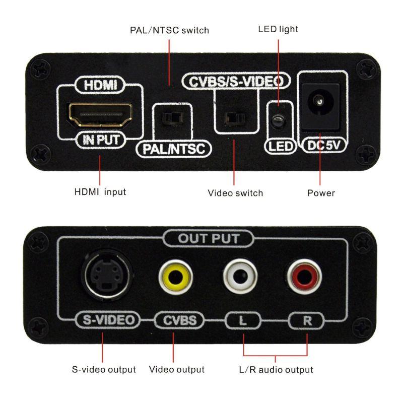HDMI to RCA AV/S-Video Converter (720P / 1080P HD Upscaler)