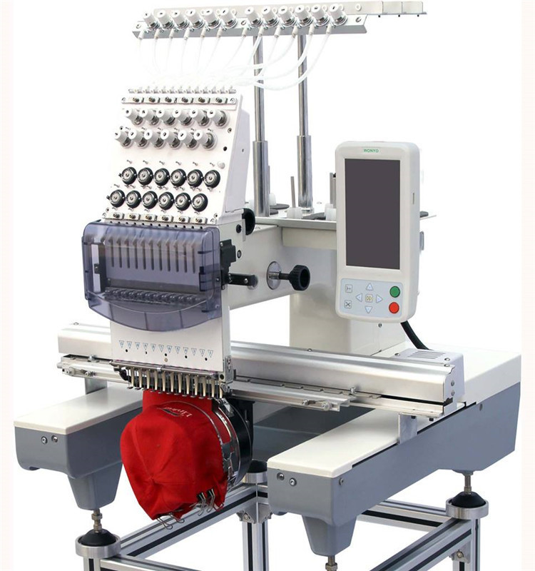 Single Head High Speed Commercial Embroidery Machine for Hat/ Cap/ T-Shirt /Uniforms/Jackets/Flat