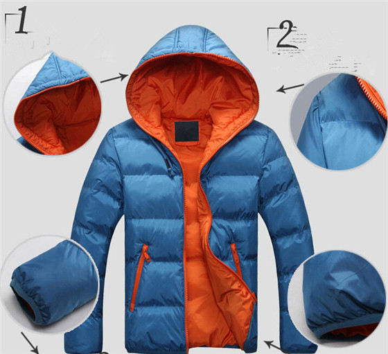 2016 Wholsale High Quality Hooded with Zipper Men Winter Jacket