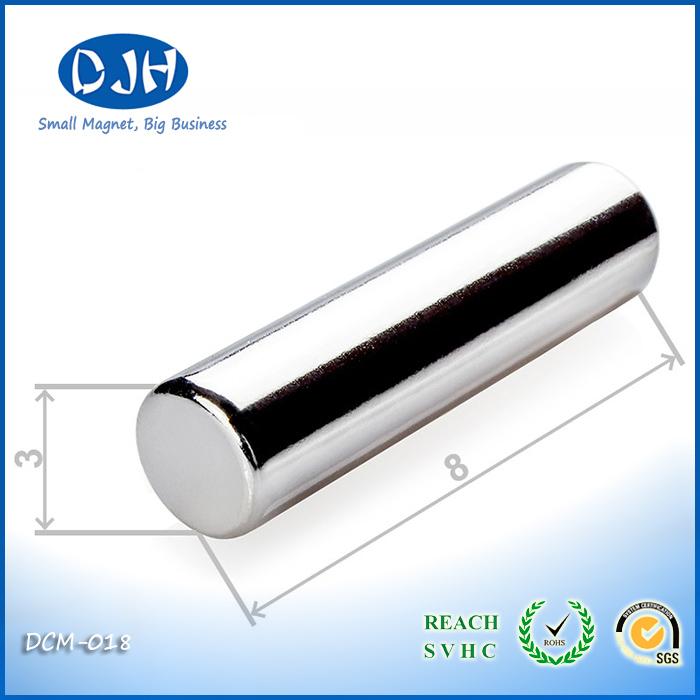 Diameter 3 * Thickness 8 mm Sintered Neodymium Iron Boron Magnets