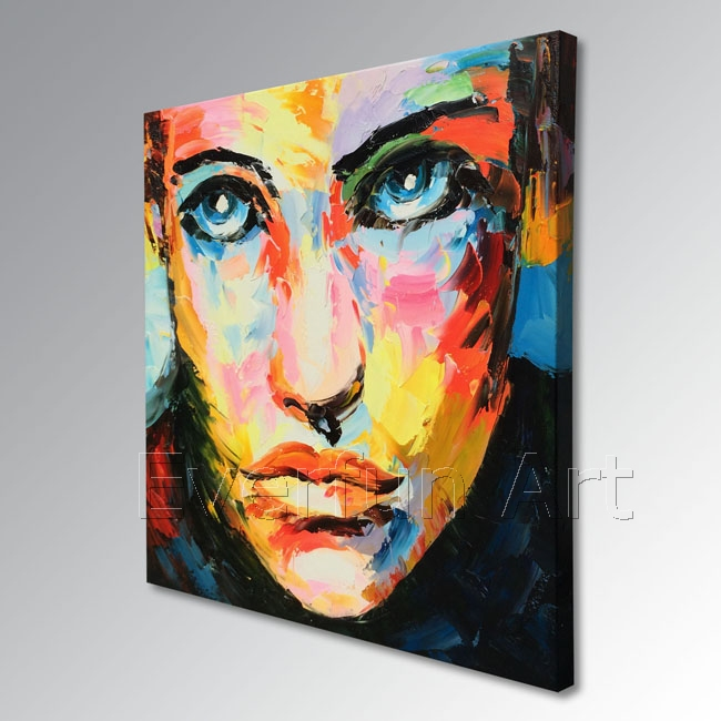 Hand-Painted Modern Figure Palette Knife Wall Art Decor Abstract Portrait Pop Oil Painting on Canvas