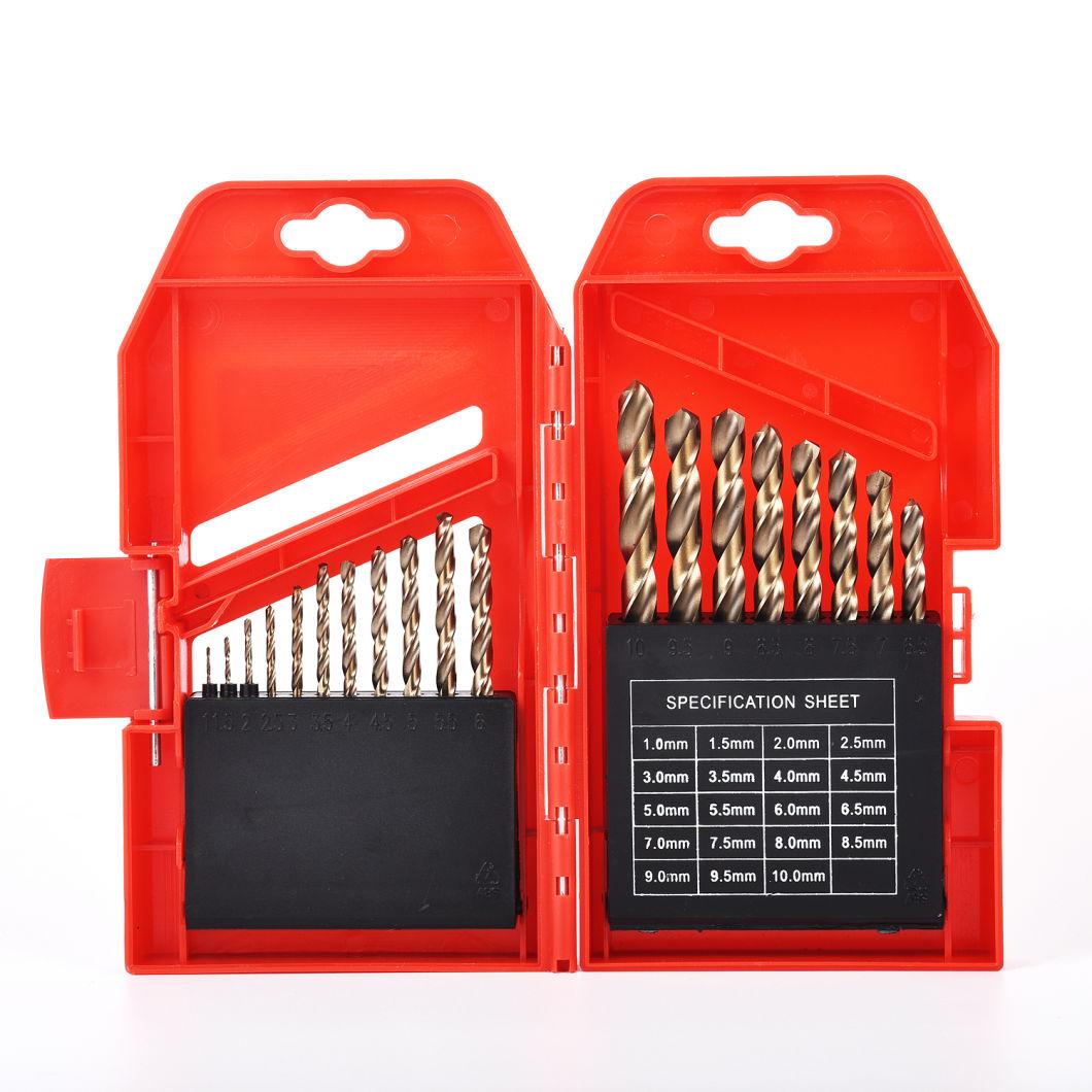 Drill Bit St HSS Straight Shank Tin-Coated Twist Drill Bit Kit 19PCS Set (GMD-003)