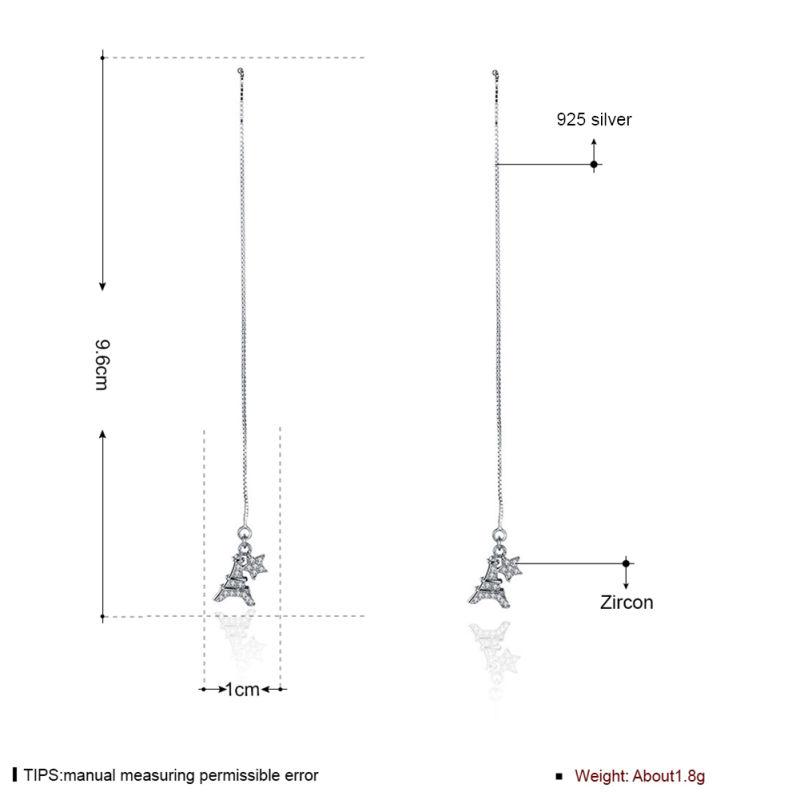 925 Sterling Silver Eiffer Tower Shape Pendant with Shell Eardrop New Design Earring