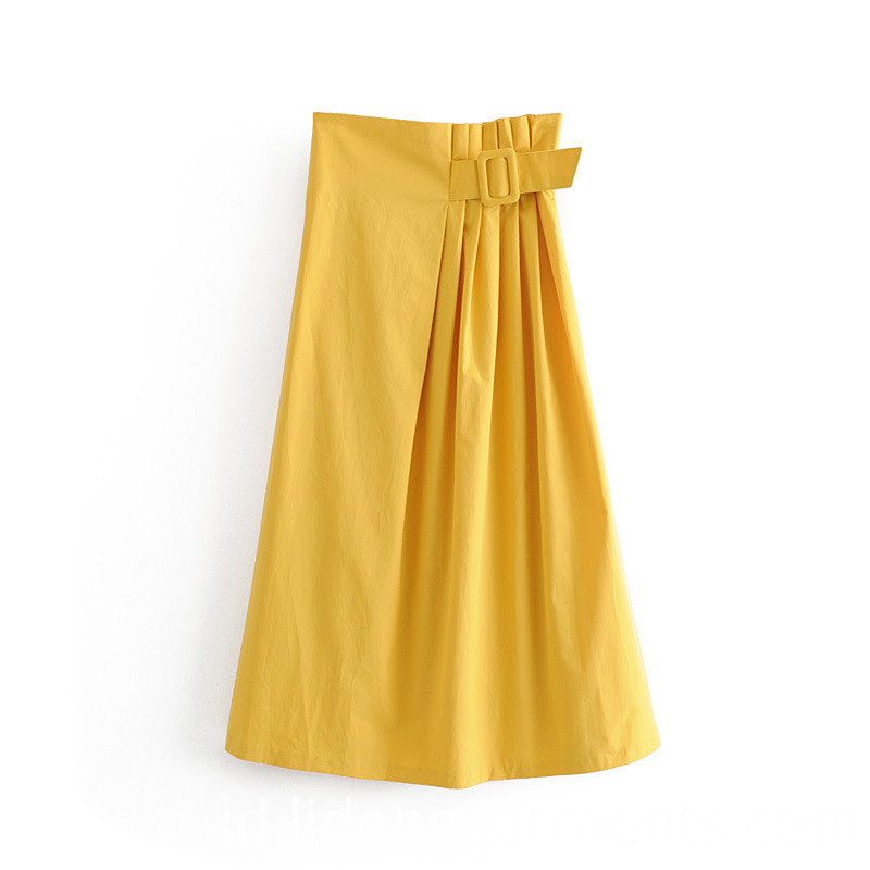 Solid Color Yellow Belt Dress
