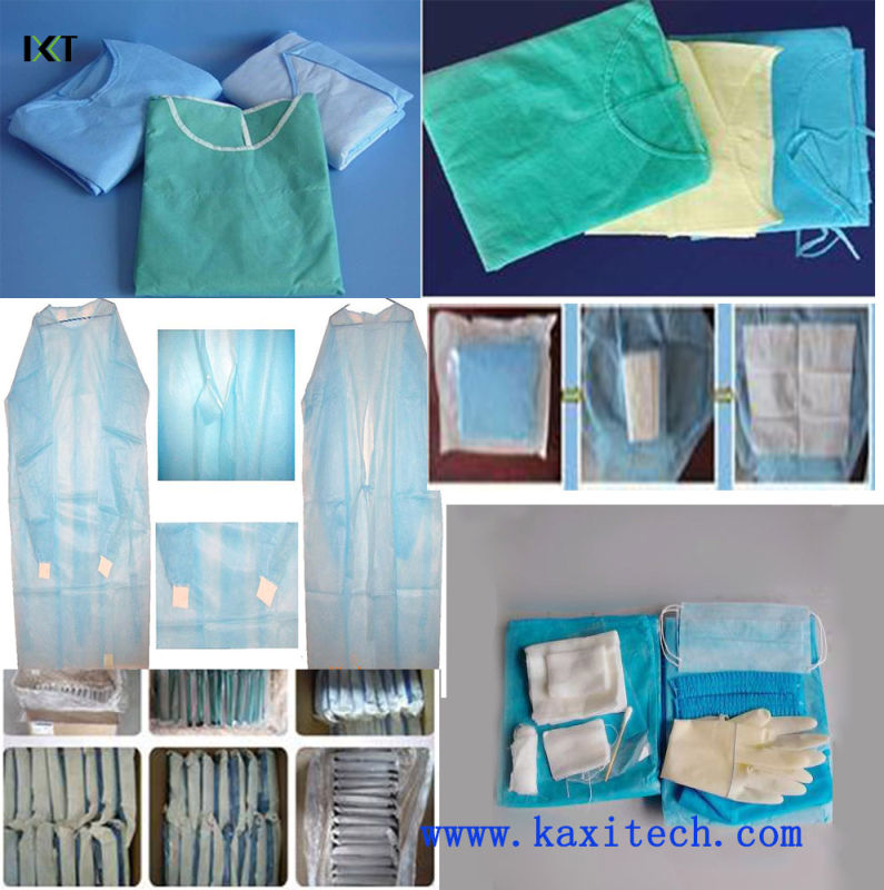 Non Woven Surgical Gown Medical Dressing for Hospital or Food Industry Kxt-Sg01