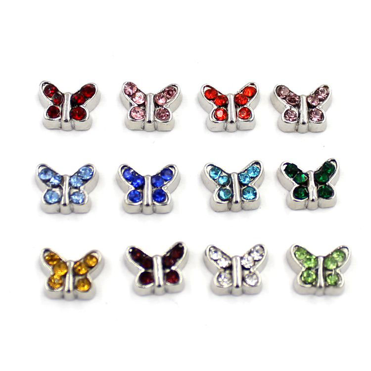 Cute Butterfly with Birthstones Floating Charms for Glass Locket