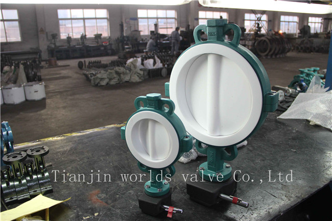 Teflon PTFE Lined Wafer Butterfly Valve with Ce ISO Wras Approved