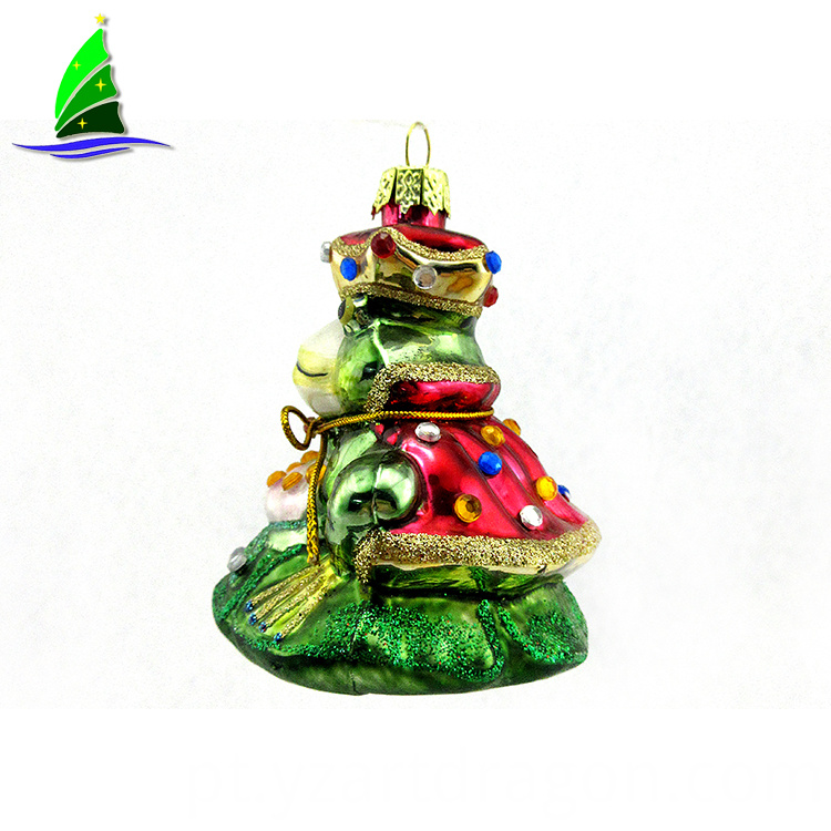 Hanging Glass Frog Queen decoration