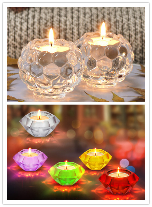 Fashionable Nice Square Crystal Glass Candle Holder