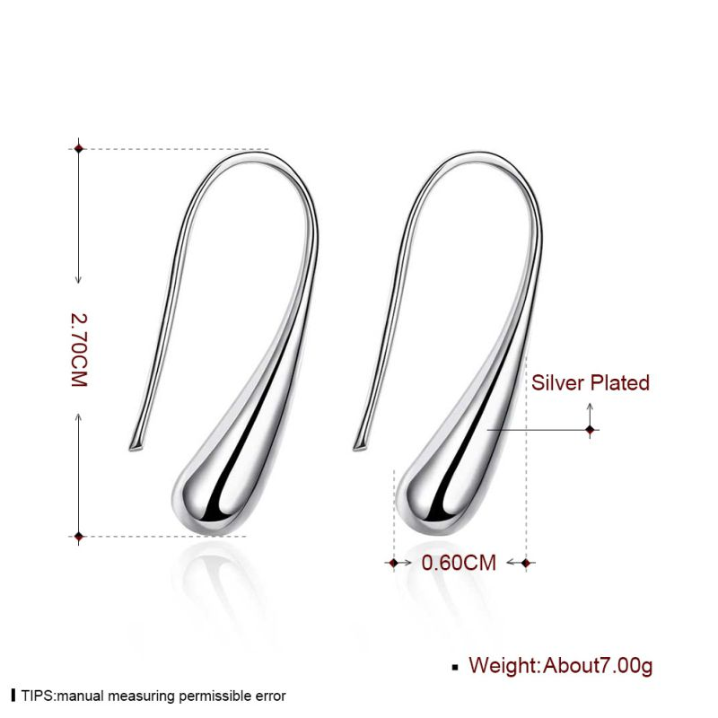 Hot Sale Simple Design Stealing Silver Earring Drop Shaped Earring Fashion Jewelry for Women