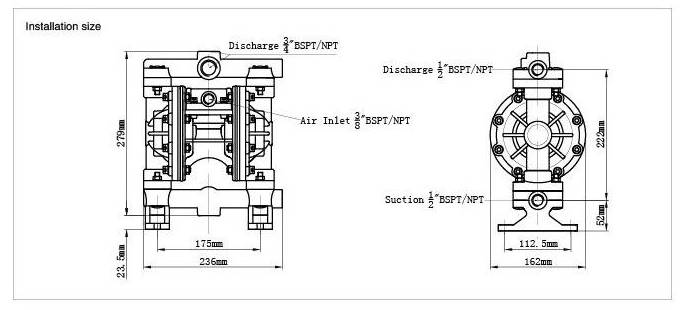Air Operation Pump Air Driven Pneumatic Diaphragm Pump Plastic Pump (Qby-10)