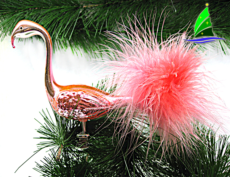 Glass Clip-on Flamingo Ornament