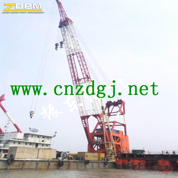 Floating Crane Work with Grab for Handling Bulk Materials
