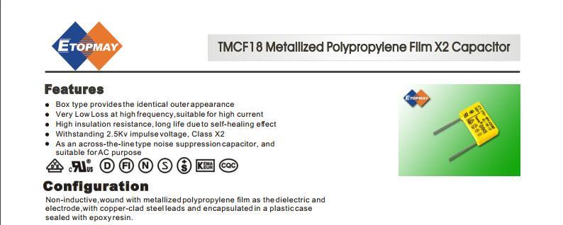 Topmay-105j280V P=22.5 Metallized Polypropylene Film X2 Capacitor