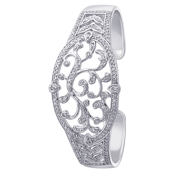 925 Silver Bangle with CZ Rhodium Plated Jewelry for Gift