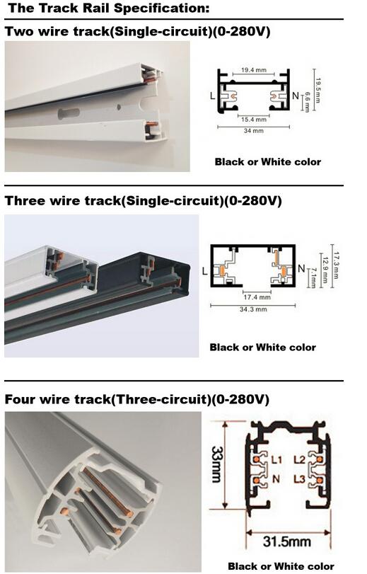30W Black/White Housing CREE COB LED Track Spotlight