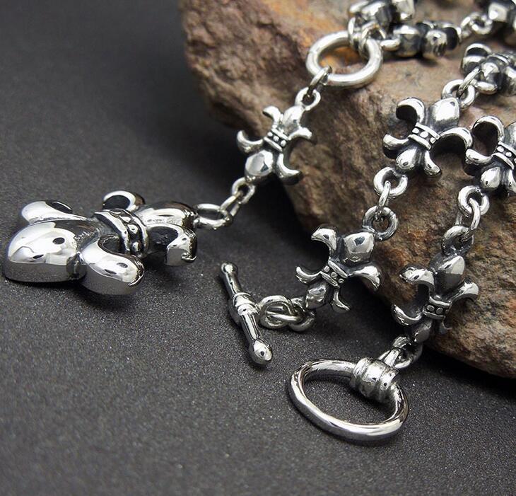Iris Pendant Vintage Punk Men's Necklace Retro Silver