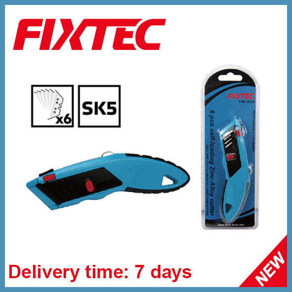 Fixtec Heavy Duty Zinc-Alloy Utility Knife with 6PCS Sk5 Blades