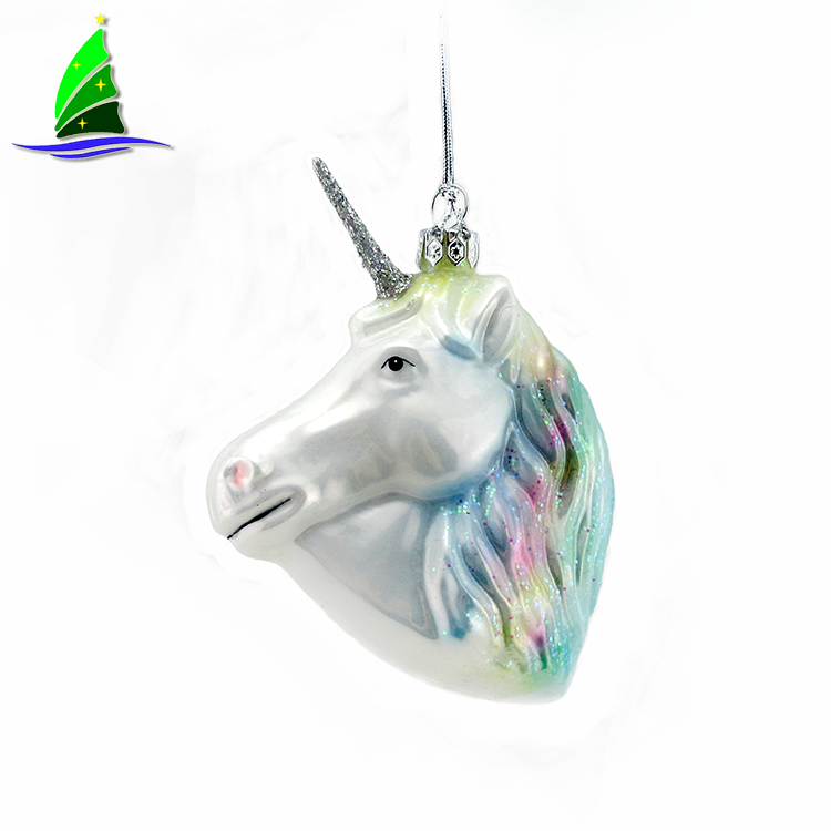 New Unicorn Glass Christmas Ornament