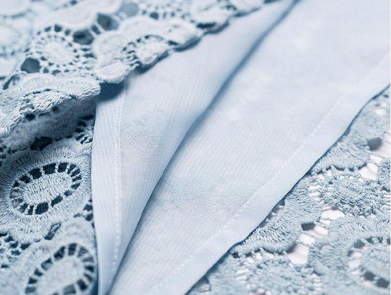 Flower Lace off-Shoulder Light Blue Half Sleeve Women's Dress