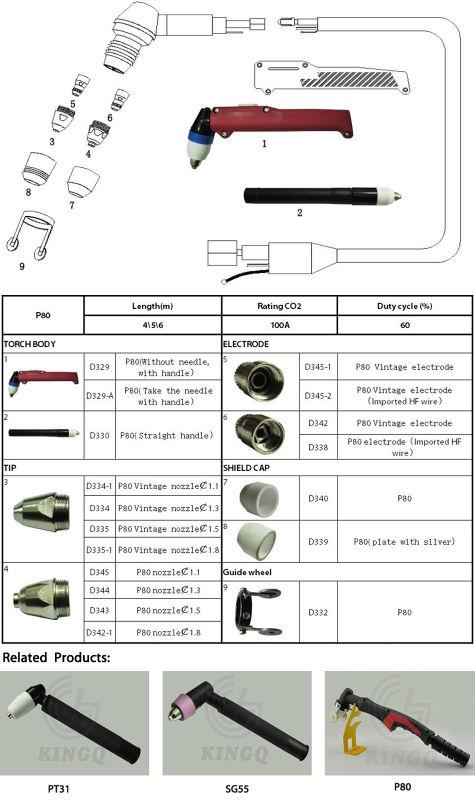 Kingq P80 Air Plasma Welding Torch for Sale