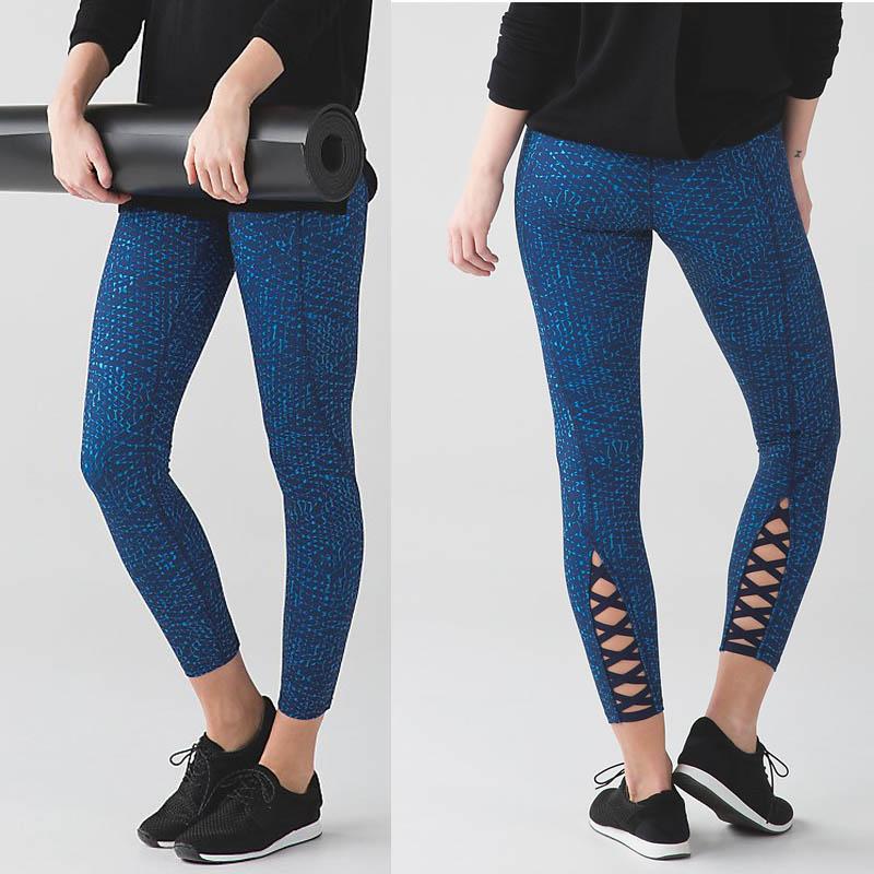 Ladies Fitness Yoga Pants Sports Leggings with Lattice on The Shin