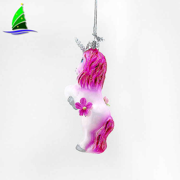 Animal Unicorn Glass Ornaments
