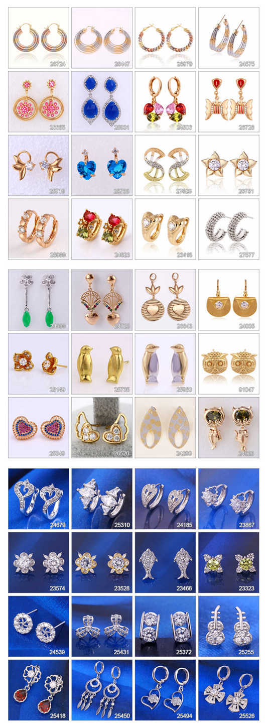 92234 Fashion Heart-Shaped Stone Jewelry Eardrop in 18k Gold-Plated