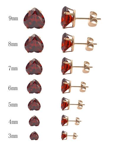 fashion Different Size Heart Shape Crystal Jewelry Stud Earrings