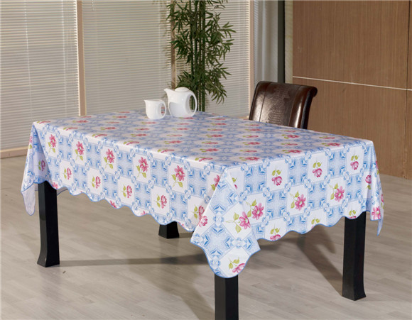 Colorful PVC Printed Pattern Tableclth Flannel Backing Tablecloth