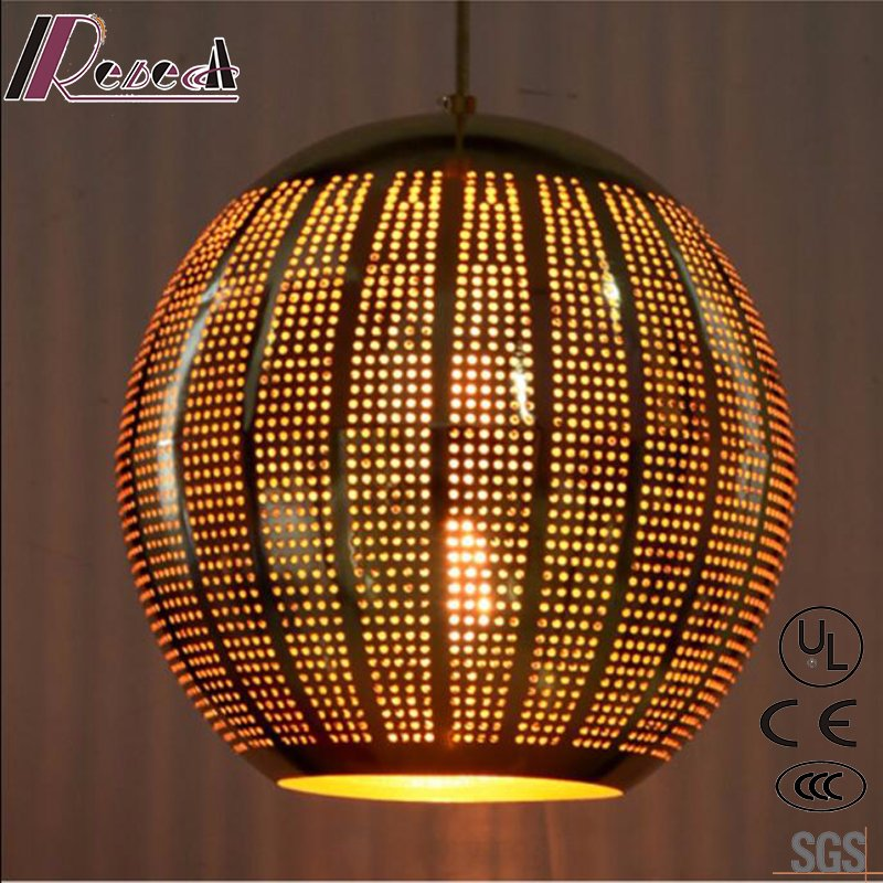 Round Metal Black Hollow Pendant Light with Dining Room