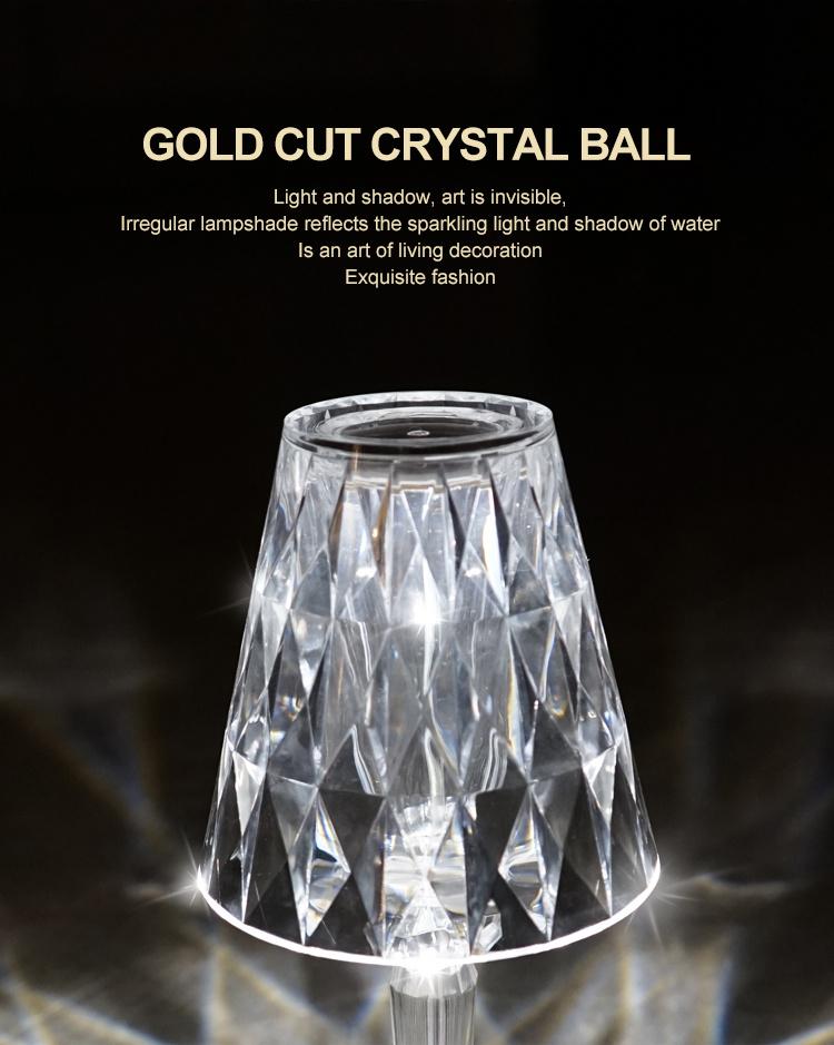 Lobby de hotel personalizado personalizado Restaurante interno 5V portátil recarregável cristal de mesa abajur